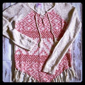 Coral and beige poncho sweater with fringe bottom